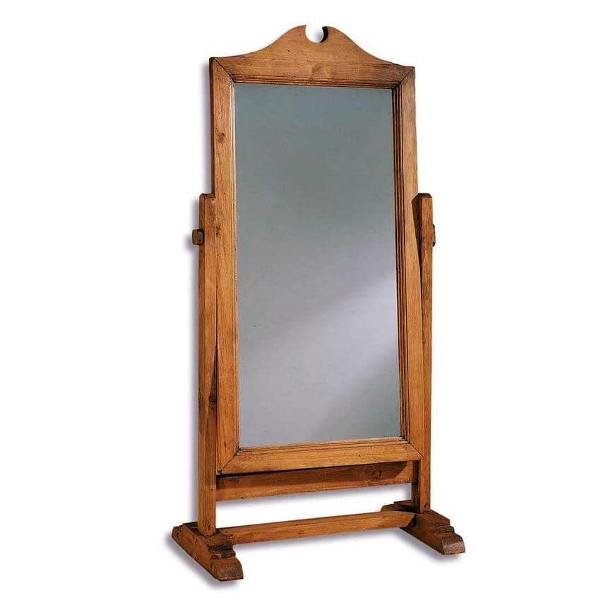 espejo pie madera antiguo