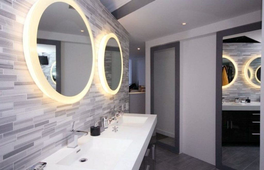 espejos redondos luz baño